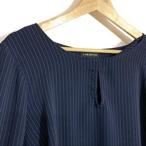Lane Bryant bell sleeve keyhole blue shirt stripe